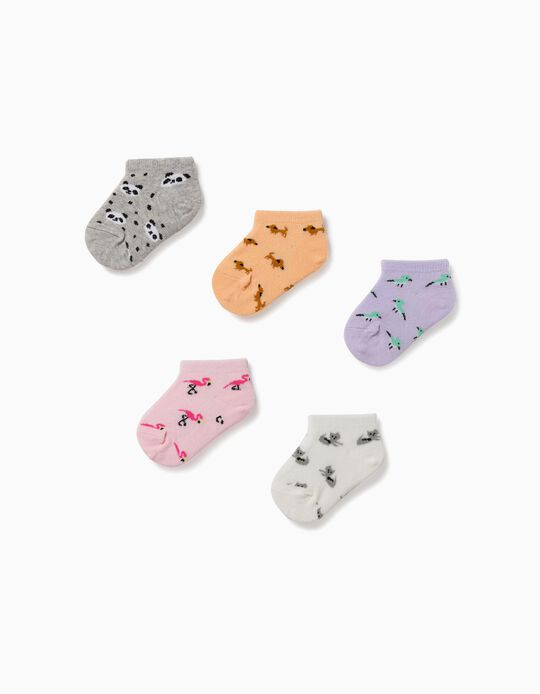 5 paires de socquettes bébé fille 'Animals', multicolore