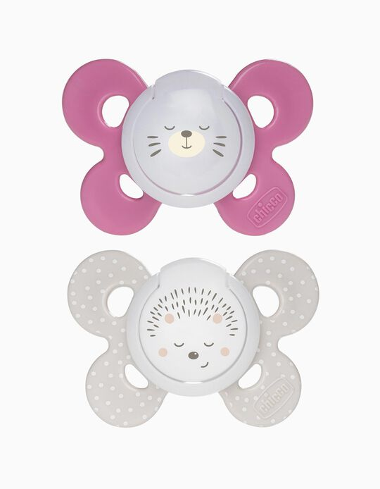 2 Night Glowing Confort Silicone Dummy 16-36M+, Chicco