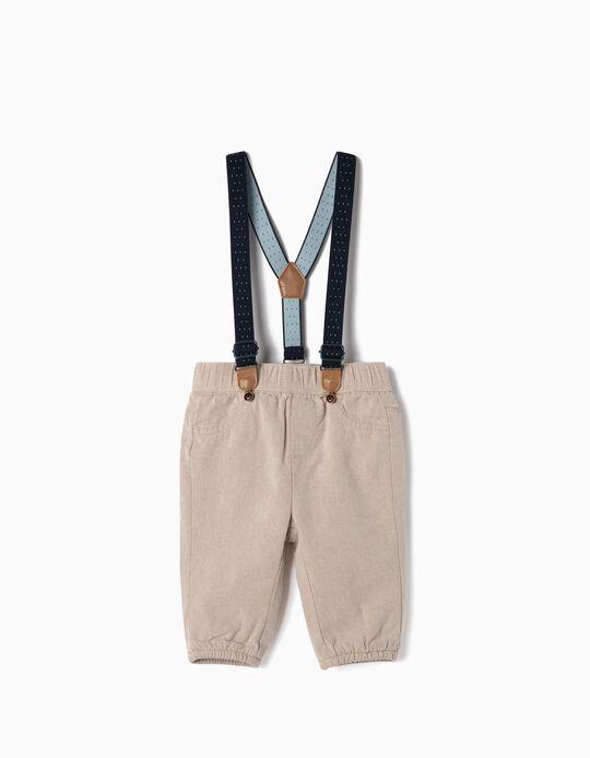 Pantalón con Tirantes para Recién Nacido, Beige