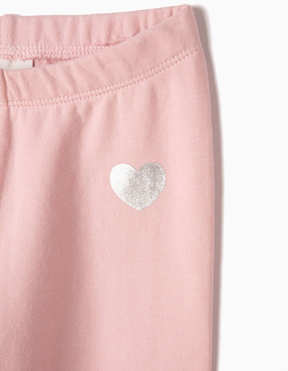 Leggings com Coração Rosa