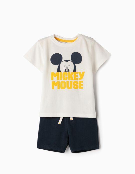 T-shirt e Calções para Bebé Menino 'Mickey', Branco e Azul