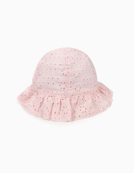 Chapéu para Bebé Menina com Bordado Inglês, Rosa