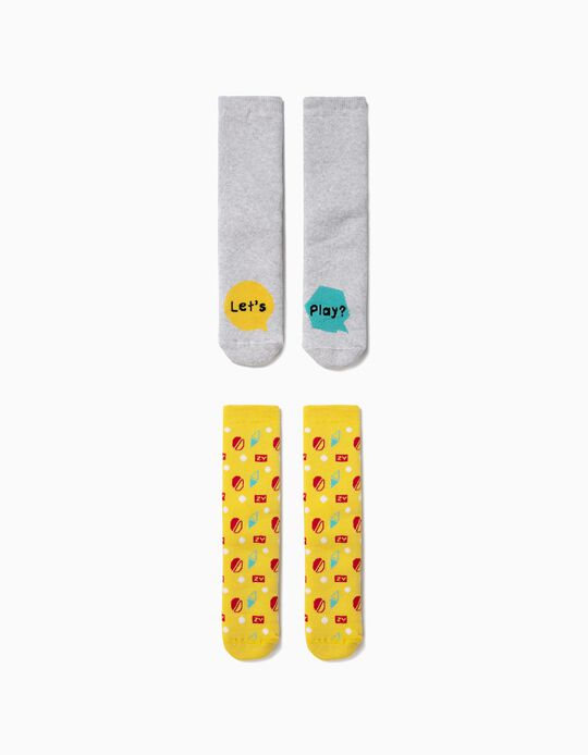Pack 2 Calcetines Antideslizantes ZY Grises y Amarillos