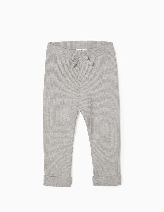 Pantalon en maille côtelée bébé fille, gris