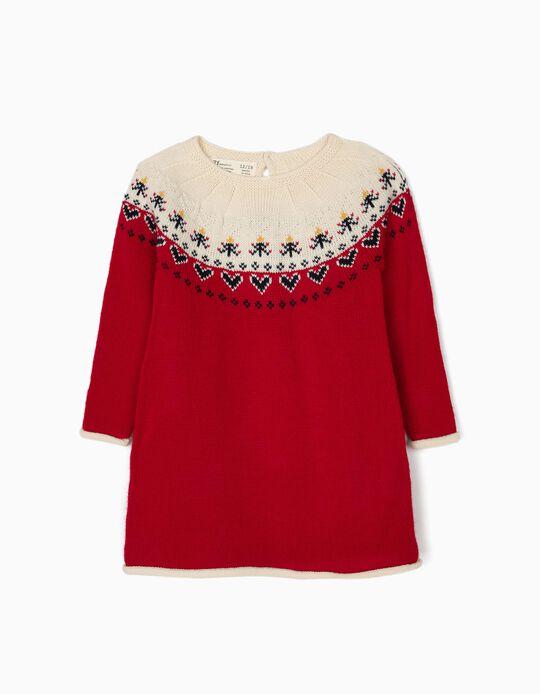 Vestido Malha Corações Vermelho e Branco