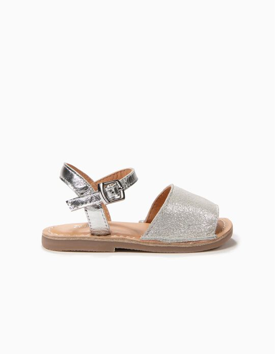 Sandálias de Pele para Bebé Menina Menorquinas, Prateado