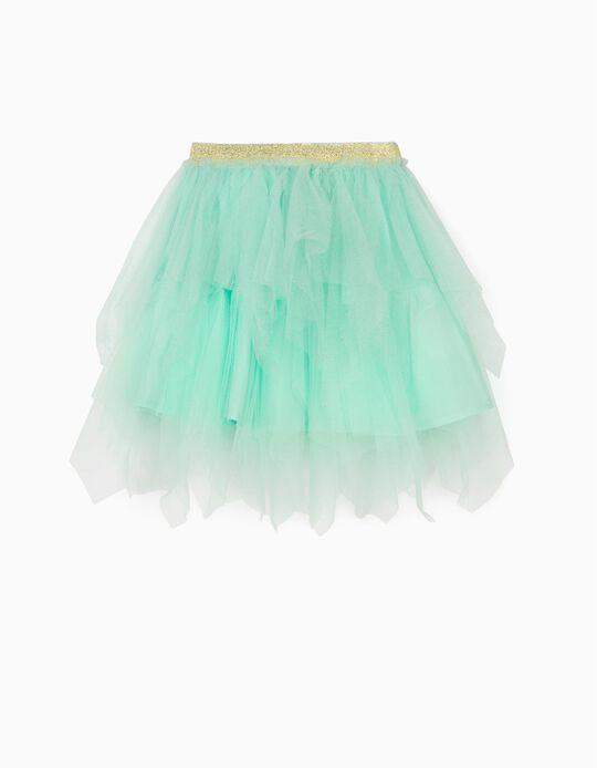 Falda de Tul para Niña, Verde Agua
