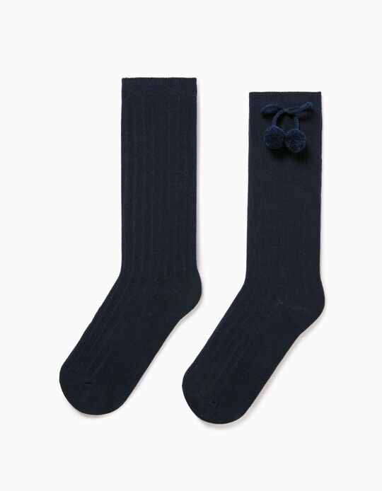 Blue Knee-High Socks with Pompom