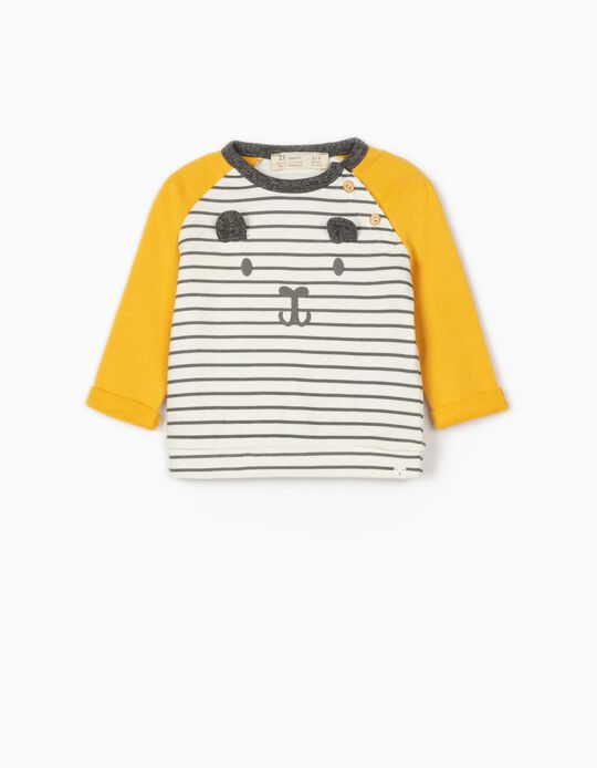Sweat nouveau-né 'Cute Bear', jaune, gris, blanc