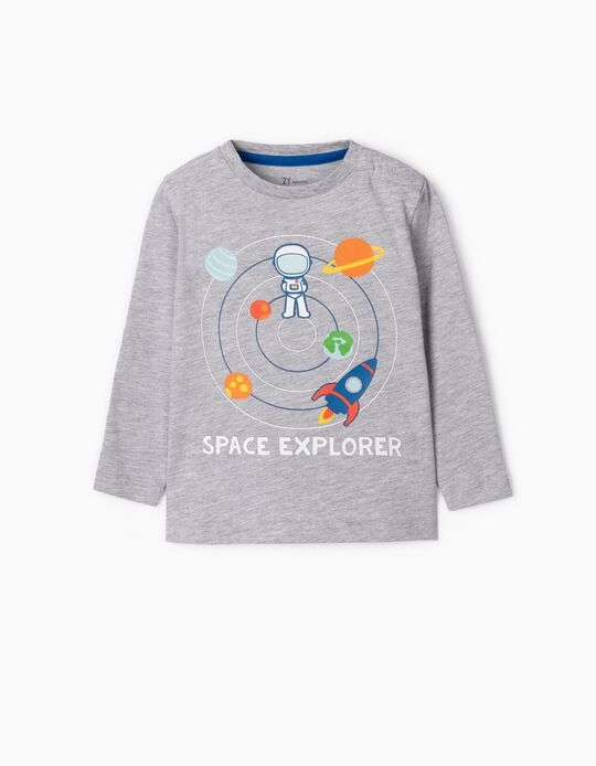 Long Sleeve Top for Baby Boys 'Space Explorer', Grey