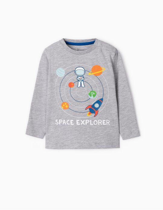 T-shirt Manga Comprida para Bebé Menino 'Space Explorer', Cinza
