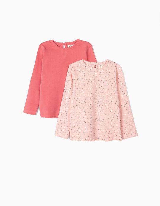2 Camisetas de Manga Larga de Canalé para Bebé Niña, Rosa