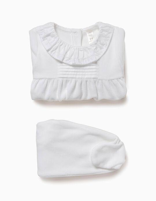 Pijama Veludo Combinado Branco