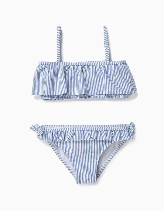 Biquíni para Menina 'Riscas' Anti-UV 80, Azul e Branco