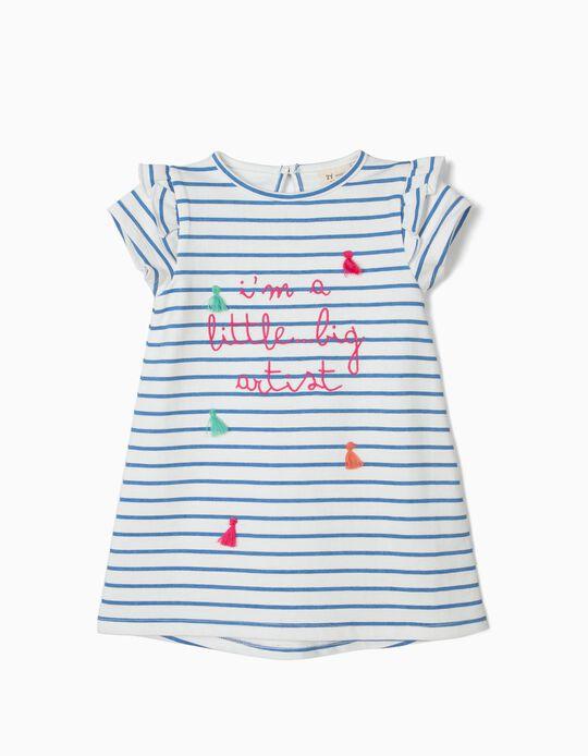 Vestido para Bebé Menina 'Little Big Artist', Branco e Azul
