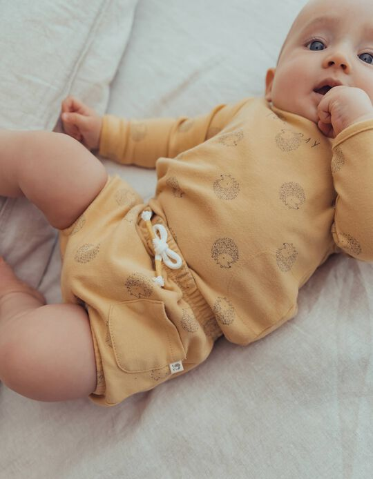 Organic Cotton Outfit for Newborn Baby Boys, Dark Yellow