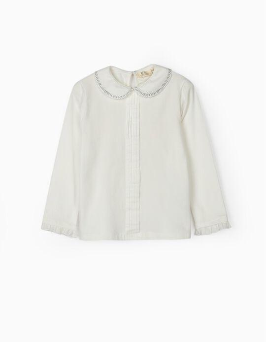 Camiseta de Manga Larga con Cuello para Niña, Blanca