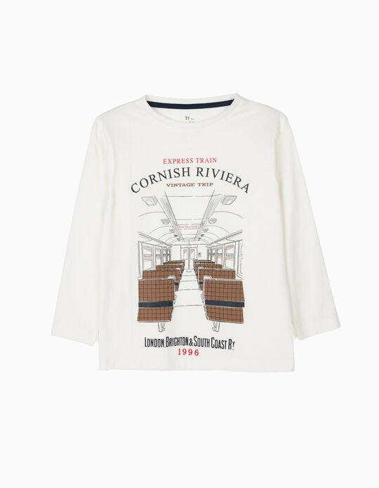 T-shirt Manga Comprida para Menino 'Vintage Train', Branco