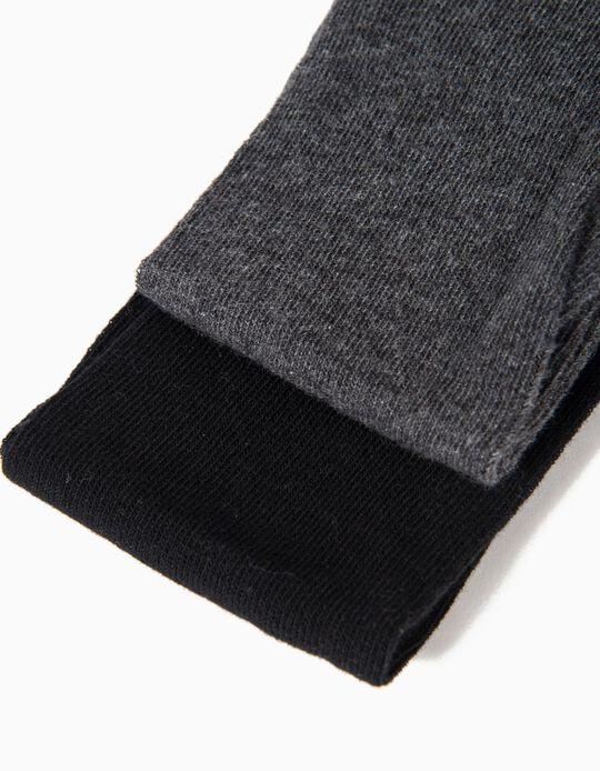 2 Collants en Maille Fille, Gris et Noir