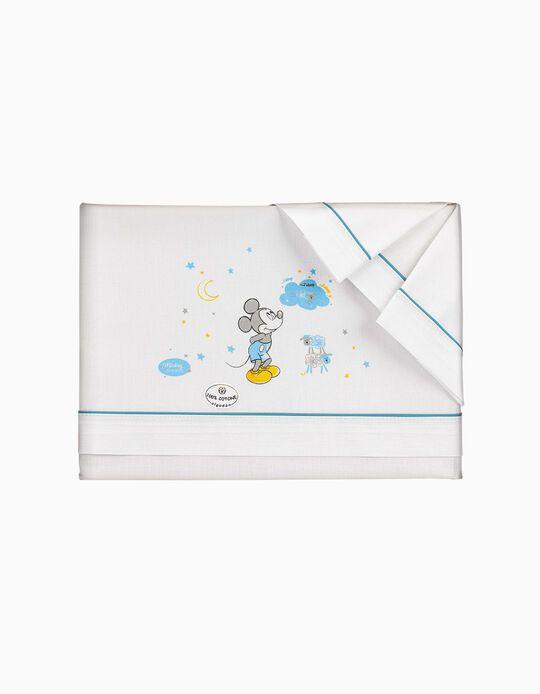 Lençóis De Cama 120x60 cm Mickey Disney Branco/azul 3 peças