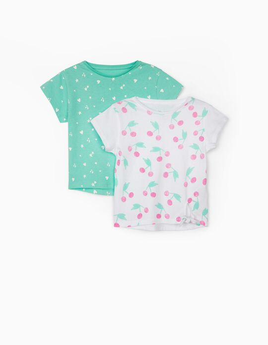 2 T-shirts for Girls, 'Cherries', White/Aqua Green