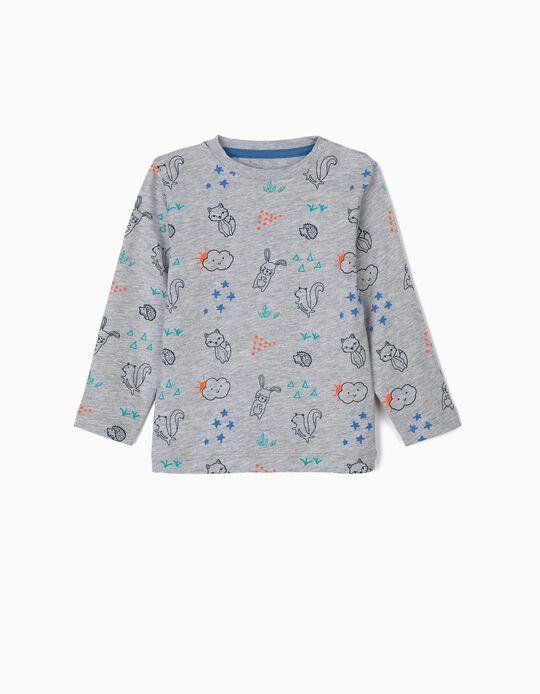 Camiseta de Manga Larga para Bebé Niño 'Animals', Gris