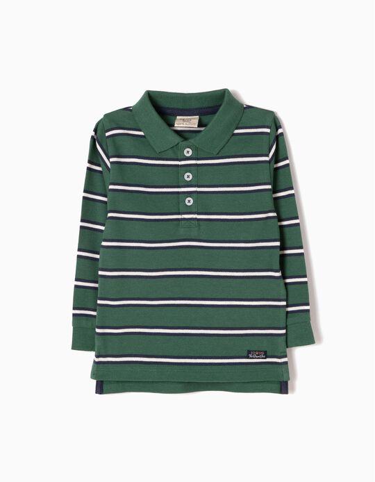 Polo Bebé Menino Manga Comprida Riscas Verde