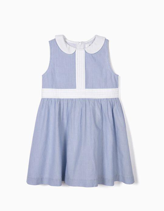 Vestido para Menina Riscas, Azul