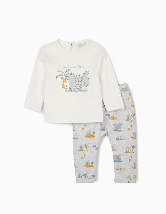 Survêtement nouveau-né 'Dumbo', blanc/gris