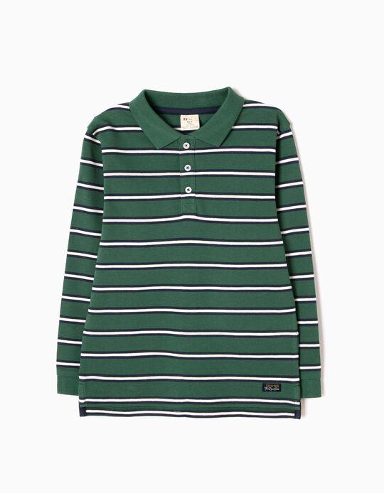 Polo Manga Comprida Riscas Verde