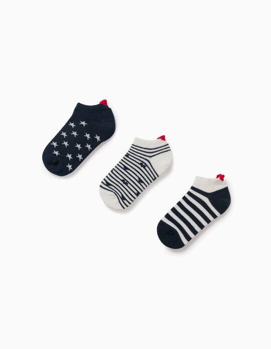 3 paires de socquettes fille 'Hearts & Stars', bleu/blanc