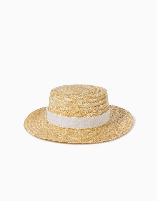 Straw Hat with Broderie Anglaise for Girls, Beige
