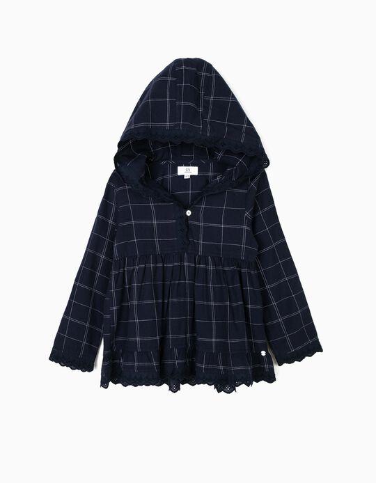 Blusa com Capuz para Menina Quadrados, Azul Escuro
