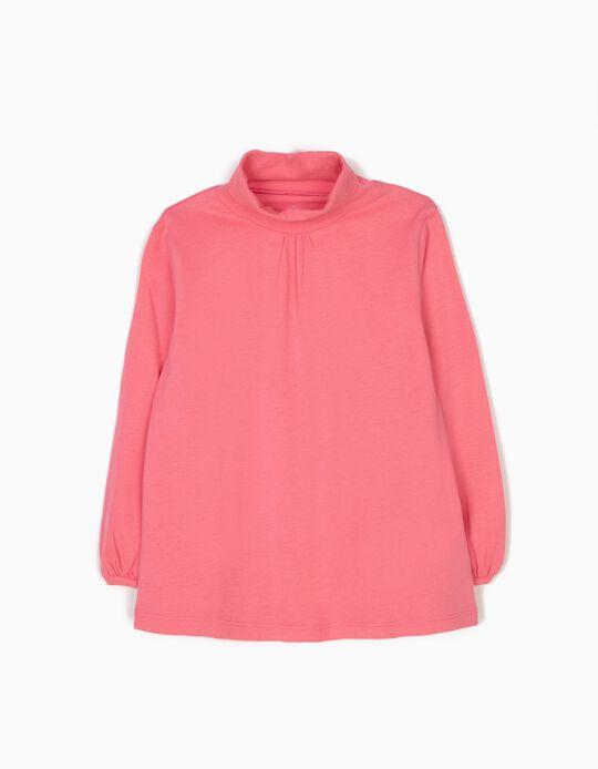 Camiseta de Manga Larga de Cuello Alto Rosa