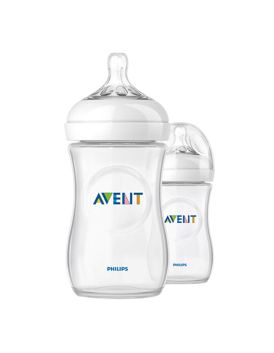 Pack of 2 Natural 260ml Baby Bottle 0M+ by Philips/Avent