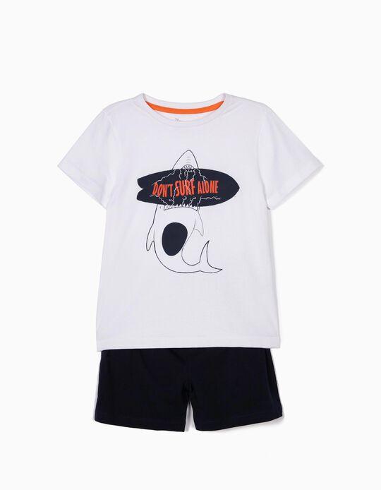 Pijama para Menino 'Don't Surf Alone', Branco e Azul Escuro