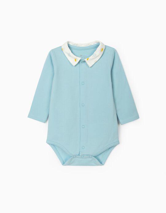 Long Sleeve Bodysuit for Newborn Baby Boys, Light Blue