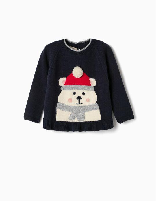 Jersey para Bebé Niña 'Winter Bear', Azul Oscuro