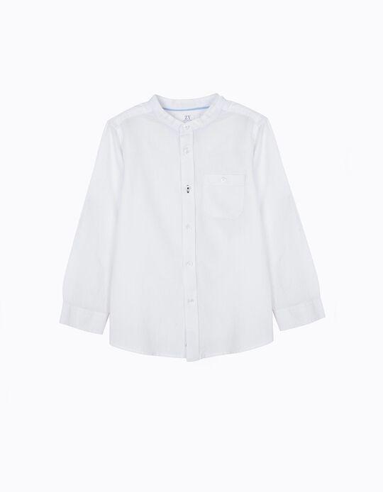 Camisa para Niño con Cuello Mao, Blanca