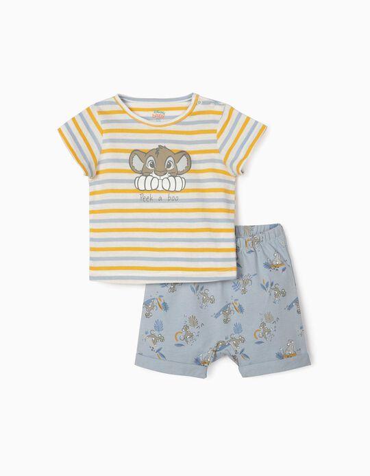 T-shirt et short nouveau-né 'Roi lion', jaune/bleu/blanc