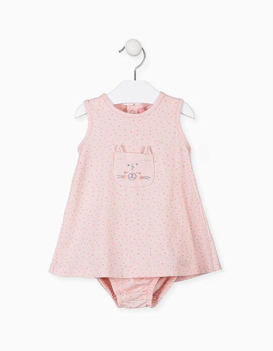 Vestido Jersey com Tapa-Fraldas para Recém-Nascida LOSAN, Rosa