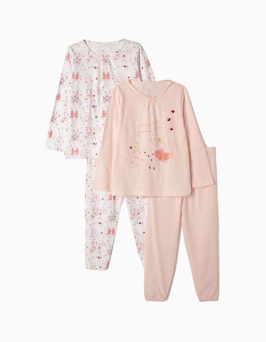 2 Pijamas Manga Comprida para Menina 'Tiaras & Jammies', Branco e Rosa