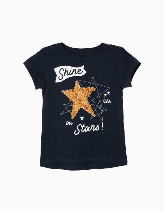 Camiseta para Niña 'Shine Like the Stars', Azul Oscuro