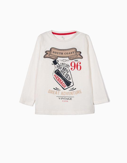 T-shirt Manga Comprida para Menino 'South Coast', Branco
