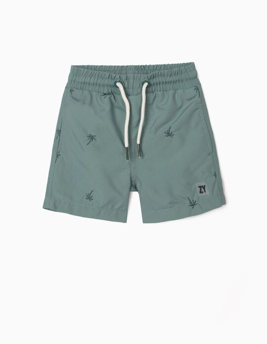 Embroidered Swim Shorts for Baby Boys, Green