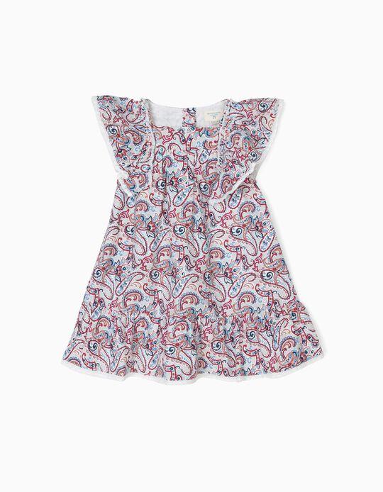 Vestido para Bebé Menina 'B&S' Paisley e Folhos, Branco