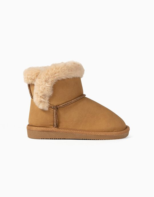 Faux Fur Trim Boots for Girls, Camel