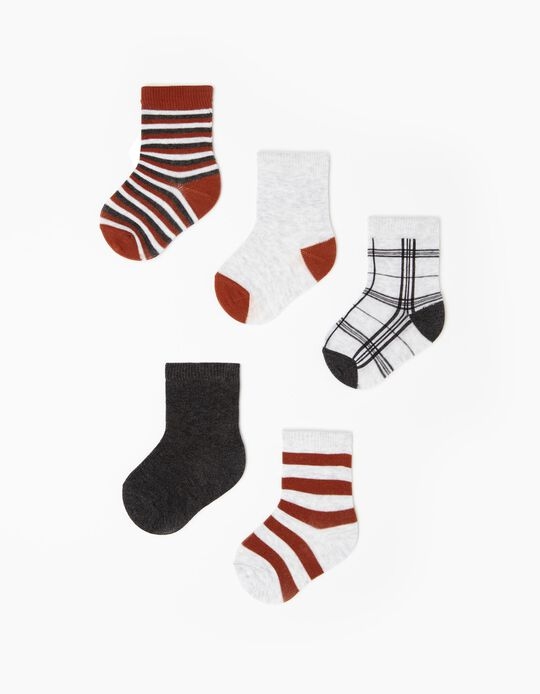 5 Pairs of Socks for Babies, Multicoloured