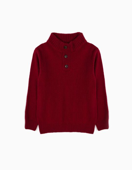 Camisola de Lã Vermelha Escuro