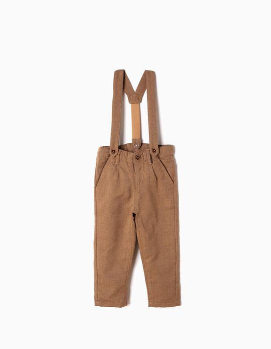 Pantalón Oxford con Tirantes Beiges
